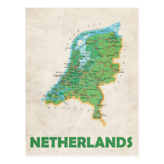 地図の郵便はがきの♥のオランダ ポストカード