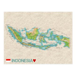 地図の郵便はがきの♥インドネシア ポストカード