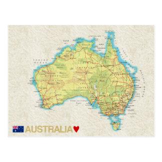 地図の郵便はがきの♥オーストラリア ポストカード