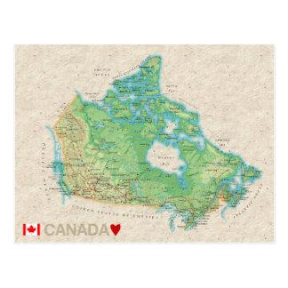 地図の郵便はがきの♥カナダ ポストカード