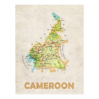 地図の郵便はがきの♥カメルーン 葉書き