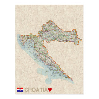 地図の郵便はがきの♥クロアチア ポストカード