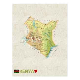 地図の郵便はがきの♥ケニヤ ポストカード