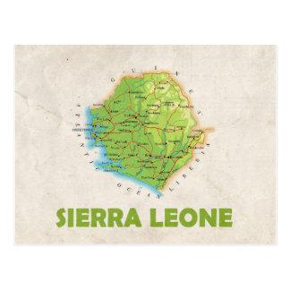 地図の郵便はがきの♥シエラレオネ ポストカード