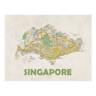 地図の郵便はがきの♥シンガポール ポストカード