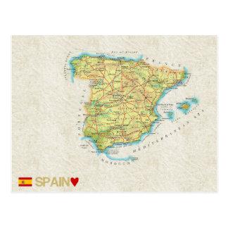 地図の郵便はがきの♥スペイン ポストカード