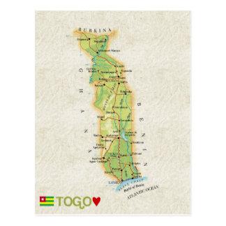 地図の郵便はがきの♥トーゴ 葉書き
