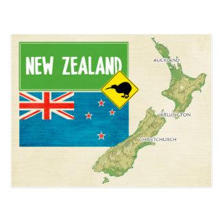 地図の郵便はがきの♥ニュージーランド ポストカード