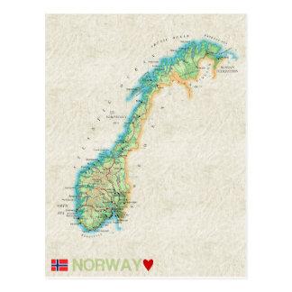 地図の郵便はがきの♥ノルウェー ポストカード