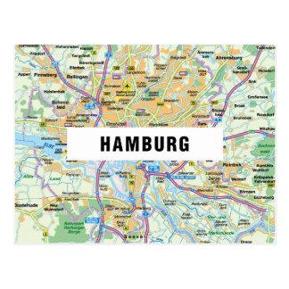 地図の郵便はがきの♥ハンブルク ポストカード