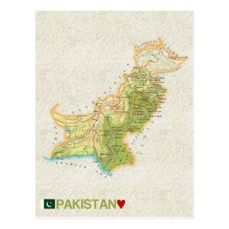 地図の郵便はがきの♥パキスタン ポストカード