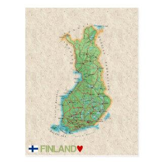 地図の郵便はがきの♥フィンランド ポストカード