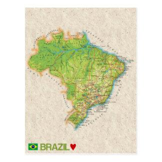 地図の郵便はがきの♥ブラジル ポストカード