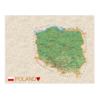 地図の郵便はがきの♥ポーランド ポストカード