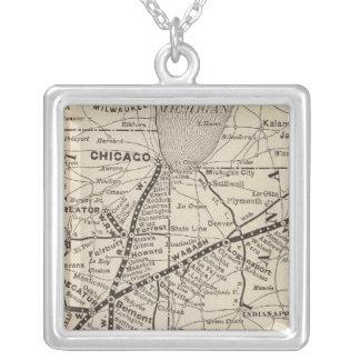 地図のWabashの鉄道 シルバープレートネックレス