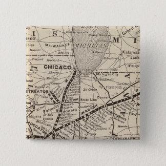 地図のWabashの鉄道 5.1cm 正方形バッジ