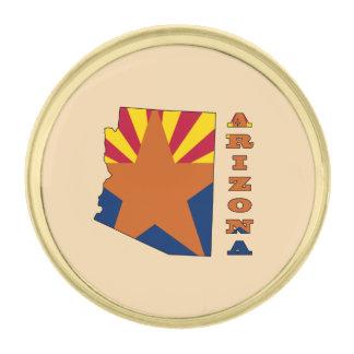 地図アリゾナの旗 ゴールド ラペルピン