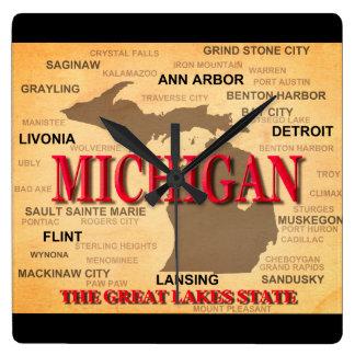 地図、デトロイト、ランシングミシガン州 壁時計
