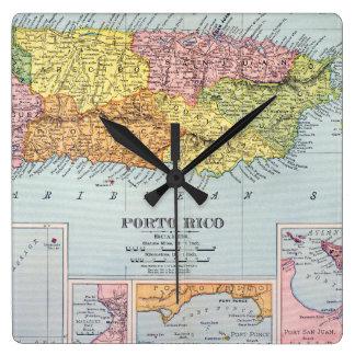 地図: プエルトリコ1900年 スクエア壁時計