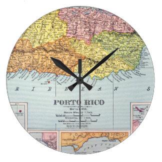 地図: プエルトリコ1900年 ラージ壁時計