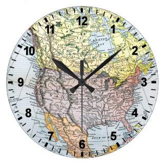 地図: 北アメリカ1890年 ラージ壁時計