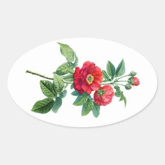 地域の赤いバラ 楕円形シール
