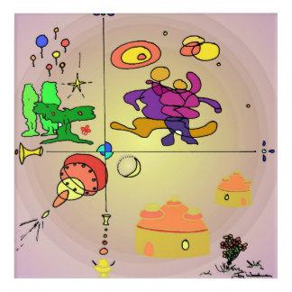 地平線1の壁の芸術の藤色Mutlicolour アクリルウォールアート