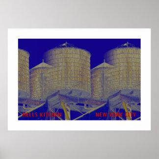 地獄の台所地区の給水塔: ニューヨークシティ ポスター