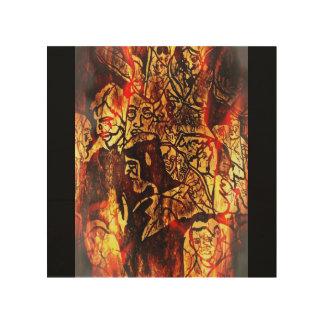 """地獄の石8"""" x8""""木製の壁の芸術 ウッドウォールアート"""