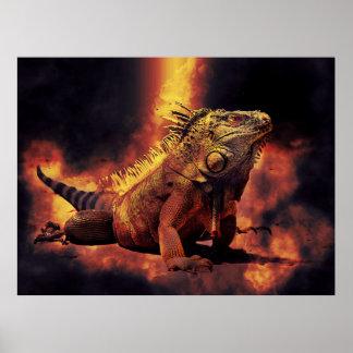 地獄の非常に熱い火のイグアナのトカゲ ポスター