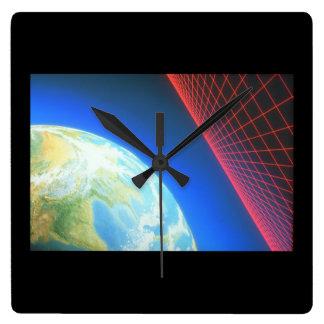 地球および格子。 (地球; grid_Space場面 スクエア壁時計