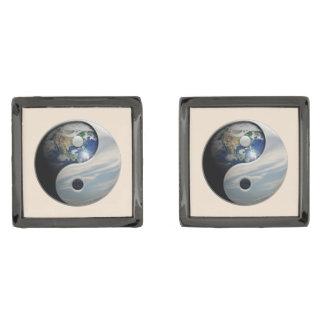 地球および空の陰陽 ガンメタル カフリンク