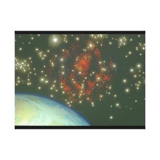 地球および銀河系。 (地球; galaxy_Space場面 キャンバスプリント