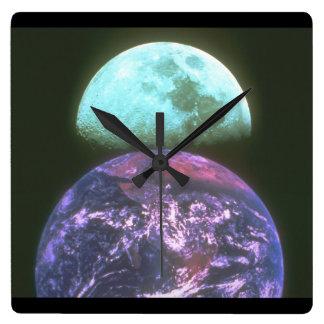 地球か月。 (地球; 月; _Space場面 スクエア壁時計