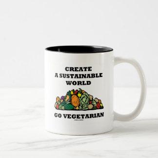 地球に優しい世界をベジタリアン行きます作成して下さい ツートーンマグカップ