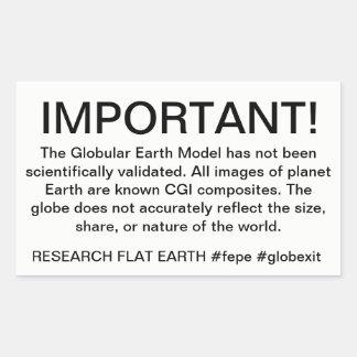 地球のための警告表示。 研究の平らな地球 長方形シール