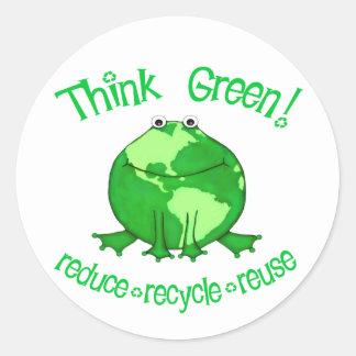 地球のカエルの環境のリサイクルのステッカー ラウンドシール