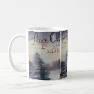 地球のクラシックで白いマグの白い平和 コーヒーマグカップ