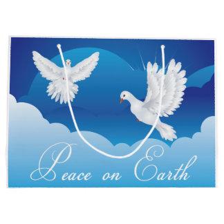 地球のクリスマスのギフトバッグの平和 ラージペーパーバッグ