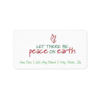 地球のクリスマスの宛名ラベルの平和 ラベル