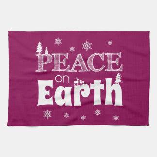 地球のクリスマスの平和 キッチンタオル