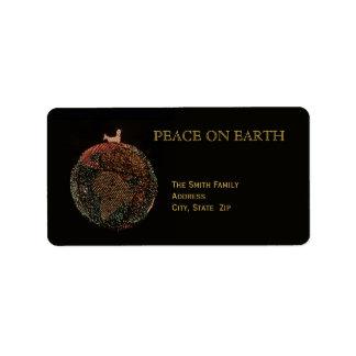 地球のクリスマスの平和 ラベル