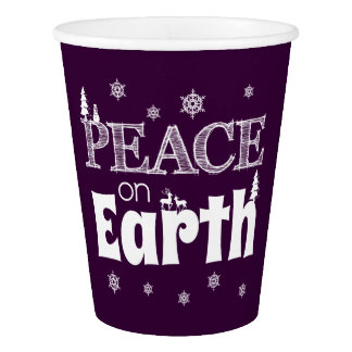 地球のクリスマスの平和 紙コップ