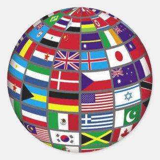 地球のステッカーの世界の国旗 ラウンドシール