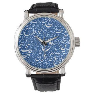 地球のタイプエラーの青黒いヴィンテージの革 腕時計