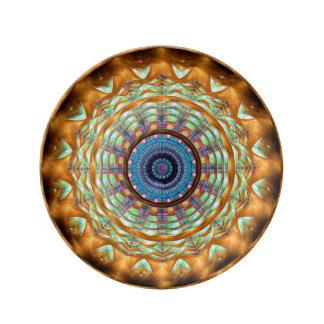 """地球のブラウンの曼荼羅パターン8.5""""磁器皿 磁器プレート"""