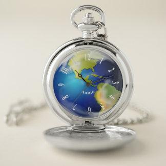 地球の世界の惑星のデザインの壊中時計 ポケットウォッチ