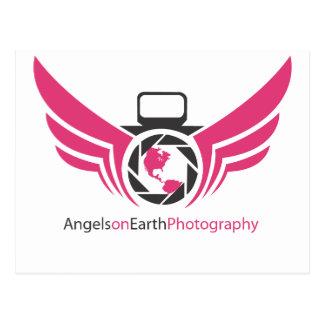 地球の写真撮影のロゴPink.pdfの天使 ポストカード
