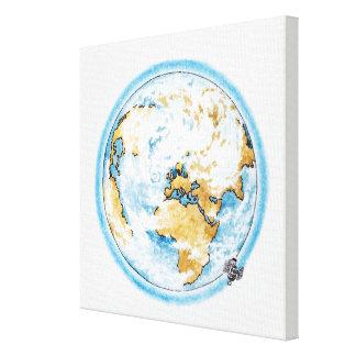 地球の回りを回っている衛星のイラストレーション キャンバスプリント