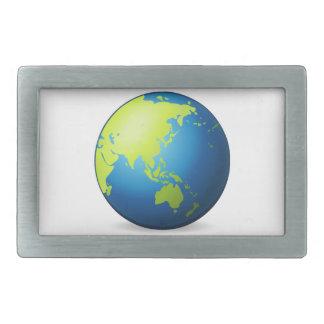 地球の地球アジア- Emoji 長方形ベルトバックル
